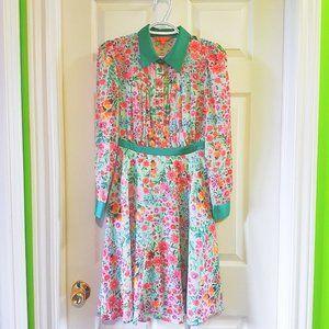 Green floral print vintage inspired shirt dress XS